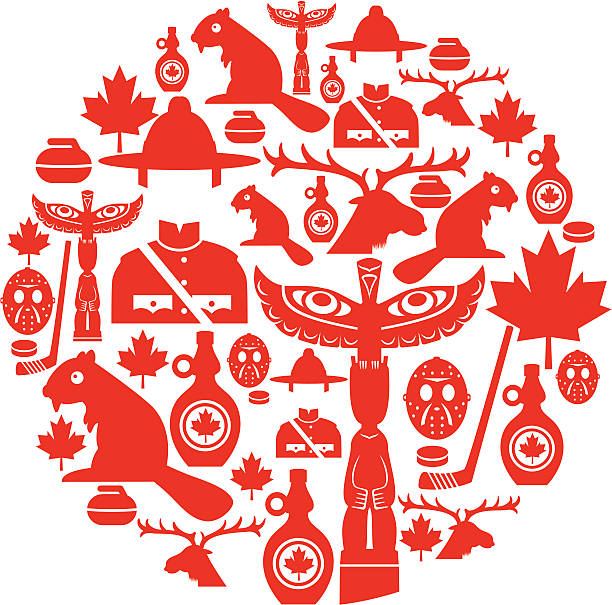 Canadian Icon Montage A set of Canadian themed icons. Click below for more travel images. maple syrup stock illustrations