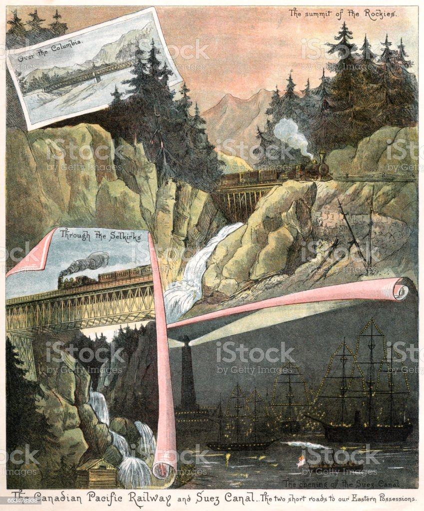 Canadian Pacific Railway and Suez Canal (Victorian illustration) vector art illustration