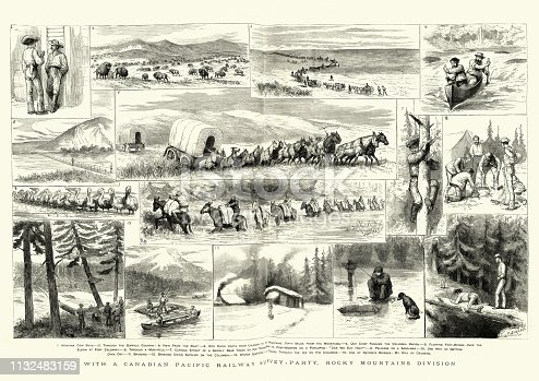 Vintage engraving of Canadian Pacific Railway survey Party, Rocky Mountains, 1884, 19th Century. The Graphic