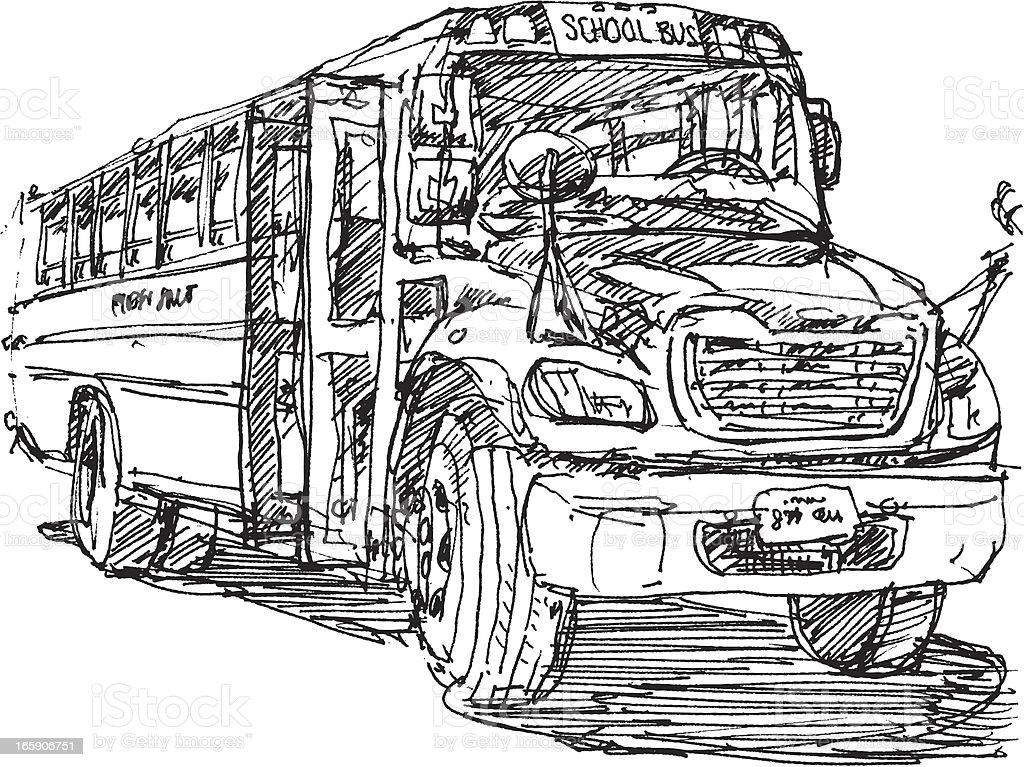 Canadian School Bus Sketch vector art illustration