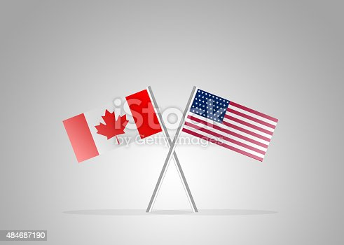 istock Canadian US Friendship - Flag Series 484687190
