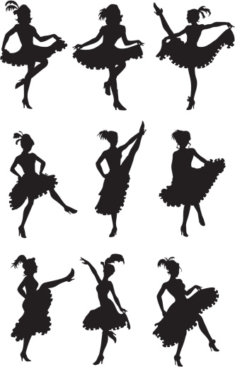 Cancan dancer in action