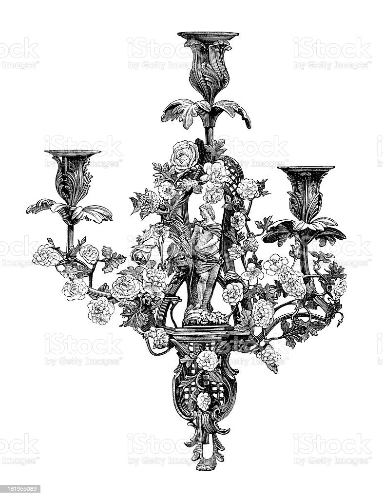 Candelabra From Time of Louis XV - Antique Engraving vector art illustration