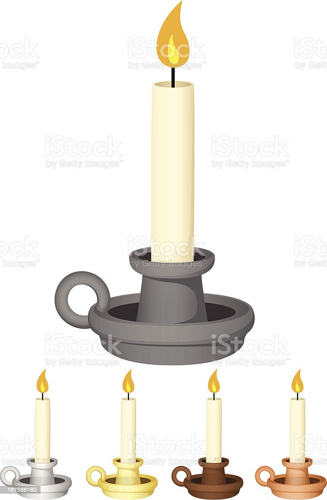 Candles In Holders vector art illustration