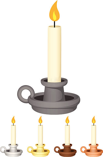 Candles In Holders Vector illustration of a candle in a candle holder, in five different colors (iron/pewter, silver, gold/brass, wood, and copper).  Each candle is on its own layer, easily separated from the other candles. Illustration uses both linear and radial gradients. Both .ai and AI8-compatible .eps formats are included, along with a high-res .jpg. candlestick holder stock illustrations
