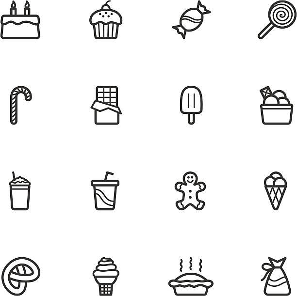 süßigkeiten und gebäck symbole - tortenriegel stock-grafiken, -clipart, -cartoons und -symbole