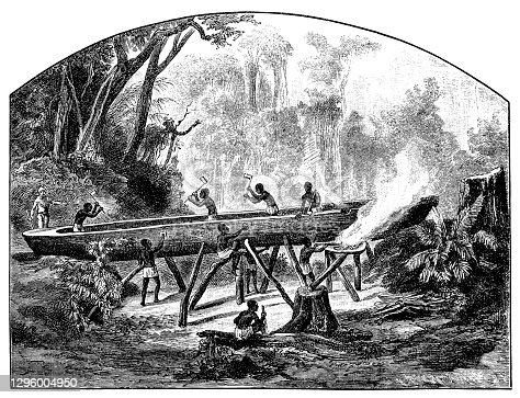 Illustration of a Canoe building site