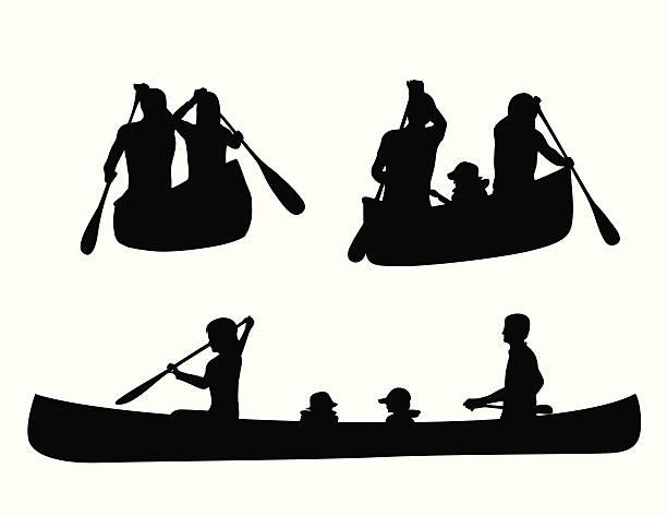 Canoe Kids Vector Silhouette Art Illustration