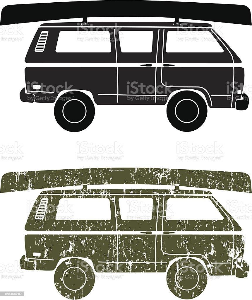 Canoe on a Van vector art illustration
