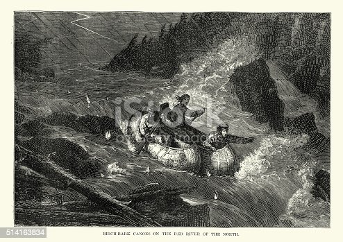 Vintage engraving showing men using birch bark canoes on Red River of the North, 19th Century