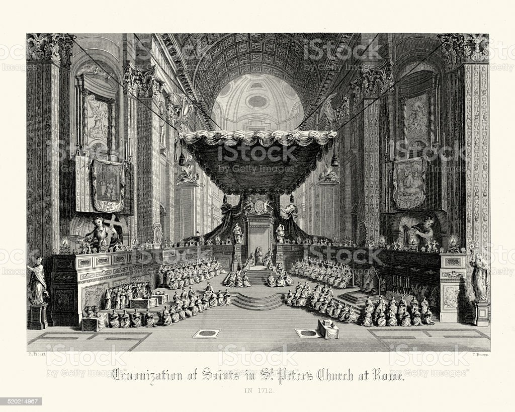 Canonisation of Saints in St Peter's Church at Rome vector art illustration