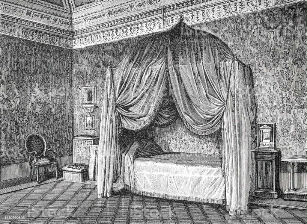 Yatak odası Papa Pius IX Illustration 1873 ' Earth ve onun Insanlar ' içinde gölgelik yatak - Royalty-free 1873 Stock Illustration