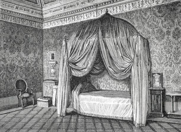 yatak odası papa pius ix illustration 1873 ' earth ve onun insanlar ' içinde gölgelik yatak - pope francis stock illustrations
