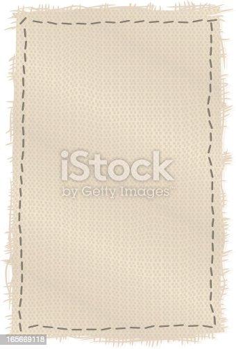canvas patch with dark stitching