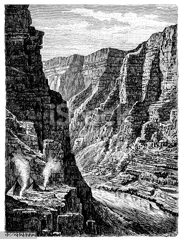 Illustration of a Canon of Lodore in the Uinta Mountains, North America
