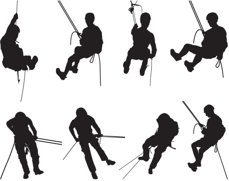 Canyoning mountain climbing silhouettes