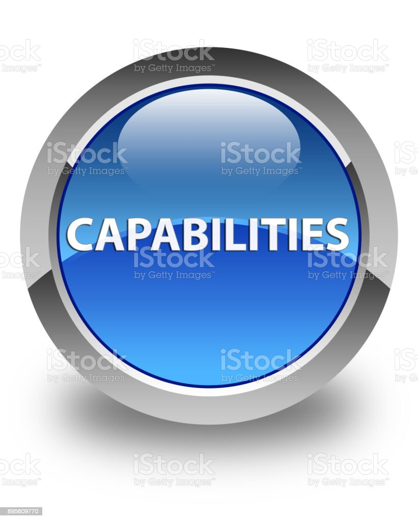 Capabilities glossy blue round button vector art illustration