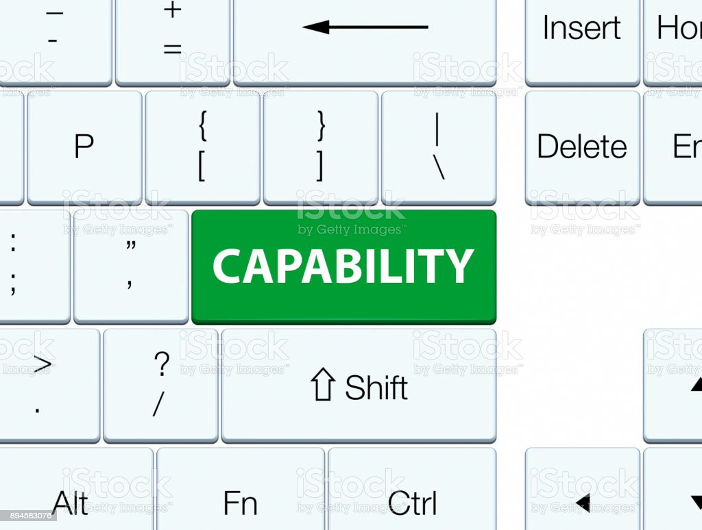 Capability green keyboard button vector art illustration