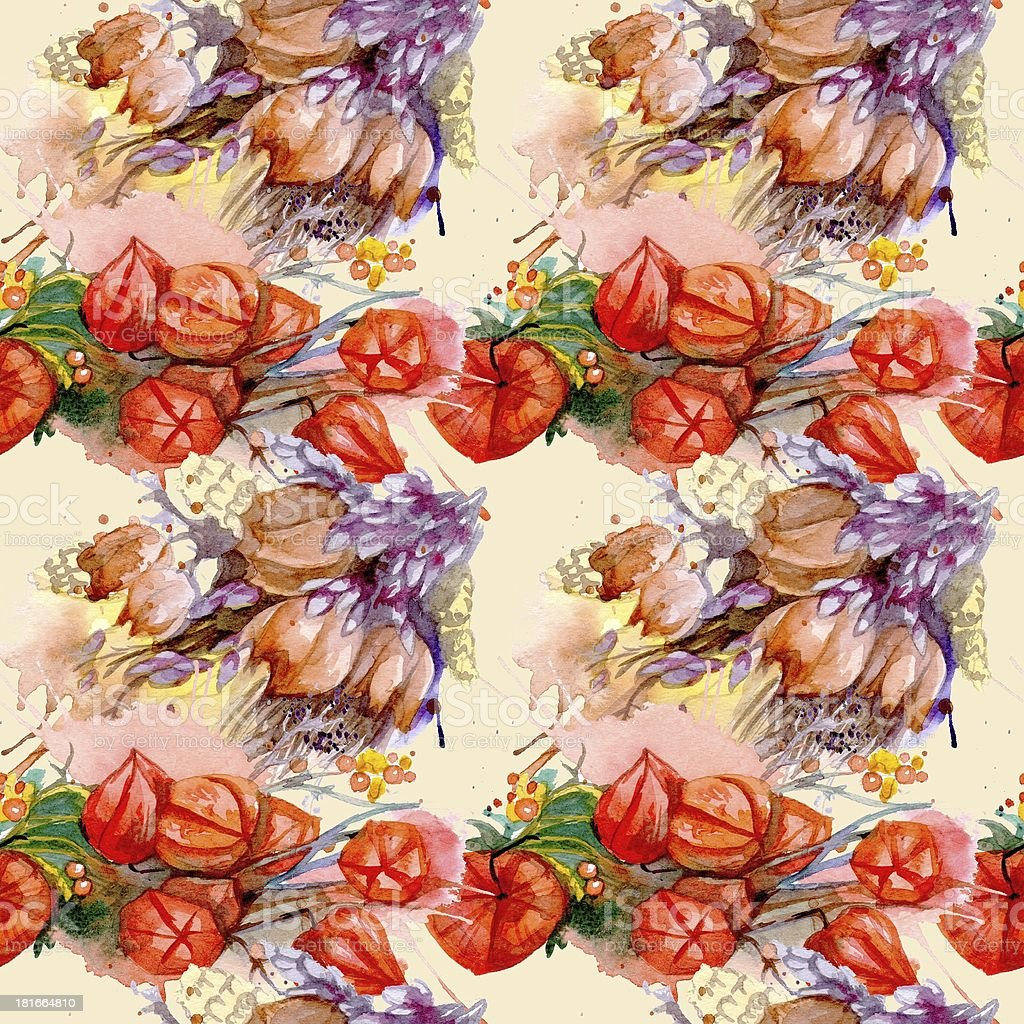 Cape de gooseberry y immortelle. Acuarela patrón sin costuras botánicos - ilustración de arte vectorial