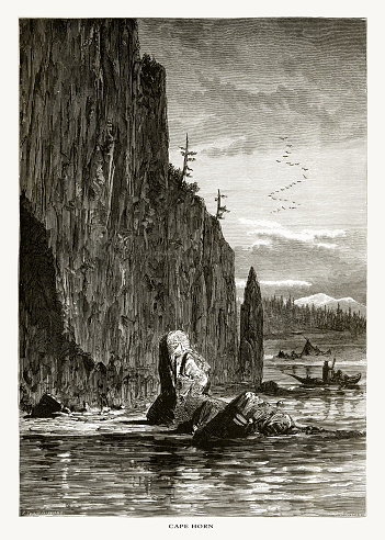 Very Rare, Beautifully Illustrated Antique Engraving of Cape Horn, Washington, United States, American Victorian Engraving, 1872. Source: Original edition from my own archives. Copyright has expired on this artwork. Digitally restored.