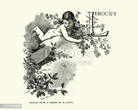Vintage illustration of a Capital letter L design, Cherub holding L