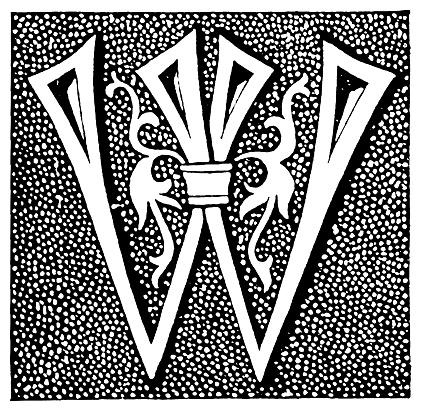 Antique illustration of letter W