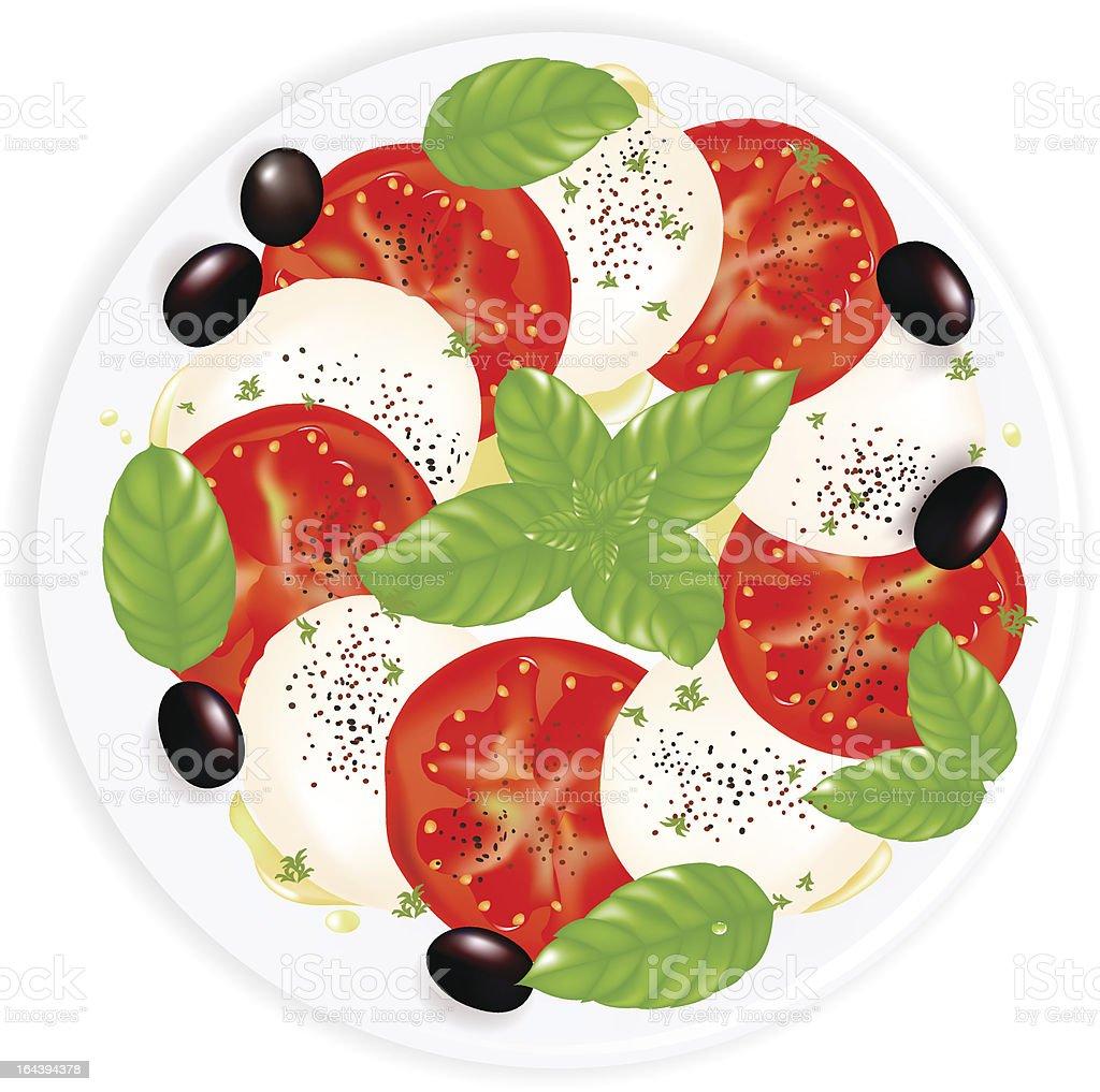 Caprese Salad With Mozzarella, Basil, Black Olives And Olive Oil vector art illustration