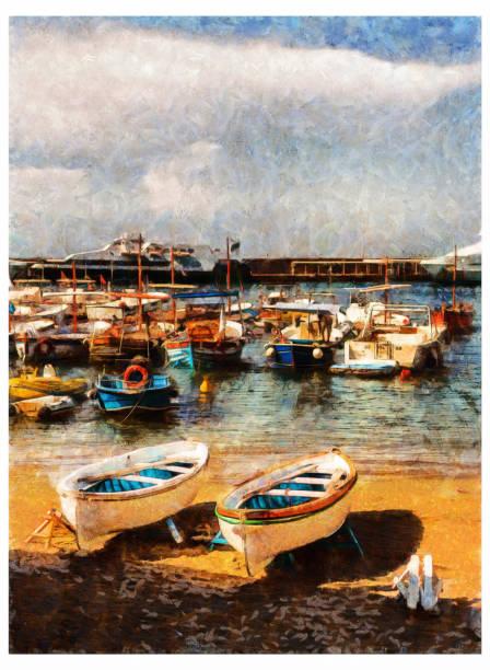 illustrazioni stock, clip art, cartoni animati e icone di tendenza di capri amalfi coast - digital photo manipulation - amalfi