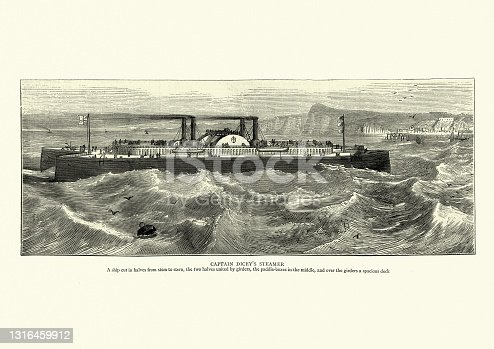 Vintage illustration of Captain Dicey's catamaran paddle steamer, ship, 1870s, 19th Century