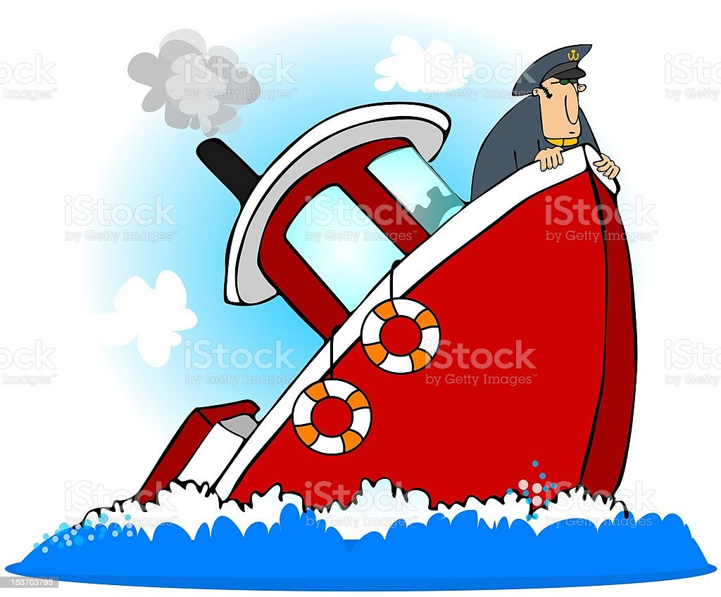 Captain Of A Sinking Ship vector art illustration