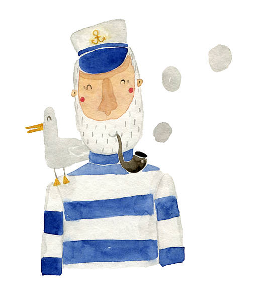 captain watercolor illustration - old man funny pictures stock illustrations