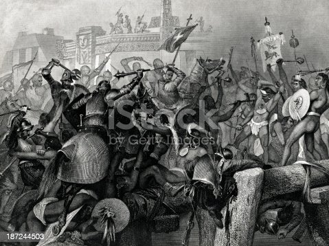 Engraving From 1869 Showing The Capture Of The City Of Mexico By Cortez.   Hernan Cortes (Cortez) Was A Spanish Conquistador Who Lived From 1485 Until 1547.