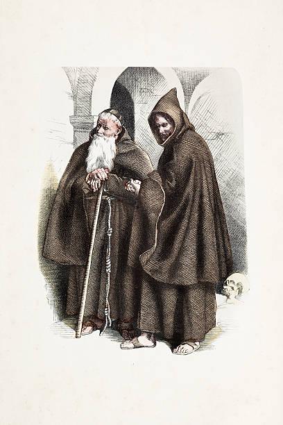 ilustraciones, imágenes clip art, dibujos animados e iconos de stock de monje capuchino con el vestuario del siglo xix tradicional - hermano