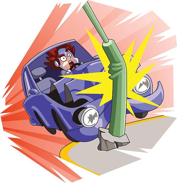 bildbanksillustrationer, clip art samt tecknat material och ikoner med car accident - krockad bil