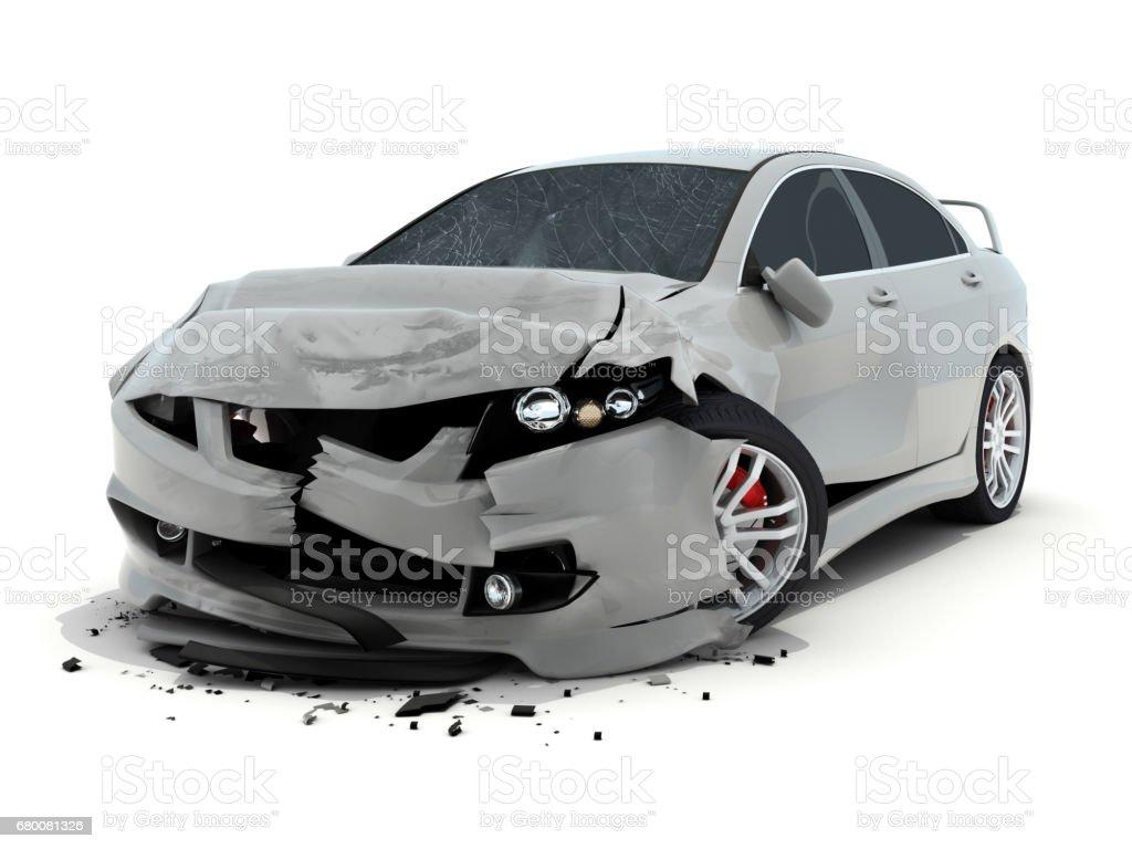 Car accident on white background vector art illustration