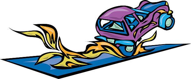 Car burning  rubber vector art illustration