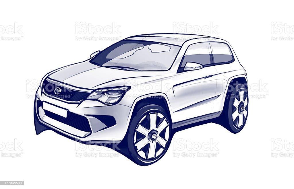 Auto Conept Zeichnung Skizze – Vektorgrafik