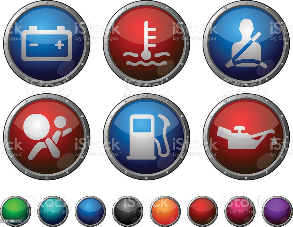 Car Dashboard - glossy buttons with steel frame. royalty-free car dashboard glossy buttons with steel frame stock vector art & more images of airbag