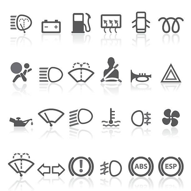 ilustrações de stock, clip art, desenhos animados e ícones de painel de carro-conjunto de ícones simples. - led painel