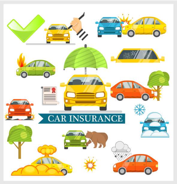 Car Insurance illustration Car Insurance illustration hailing a ride stock illustrations
