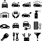 Car wash and maintenance icon set. Professional clip art for your print or Web project. See more in this series.