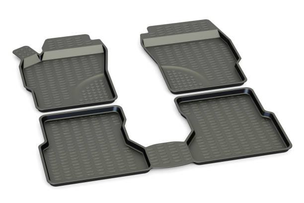 Car mats closeup, 3D rendering isolated on white background vector art illustration