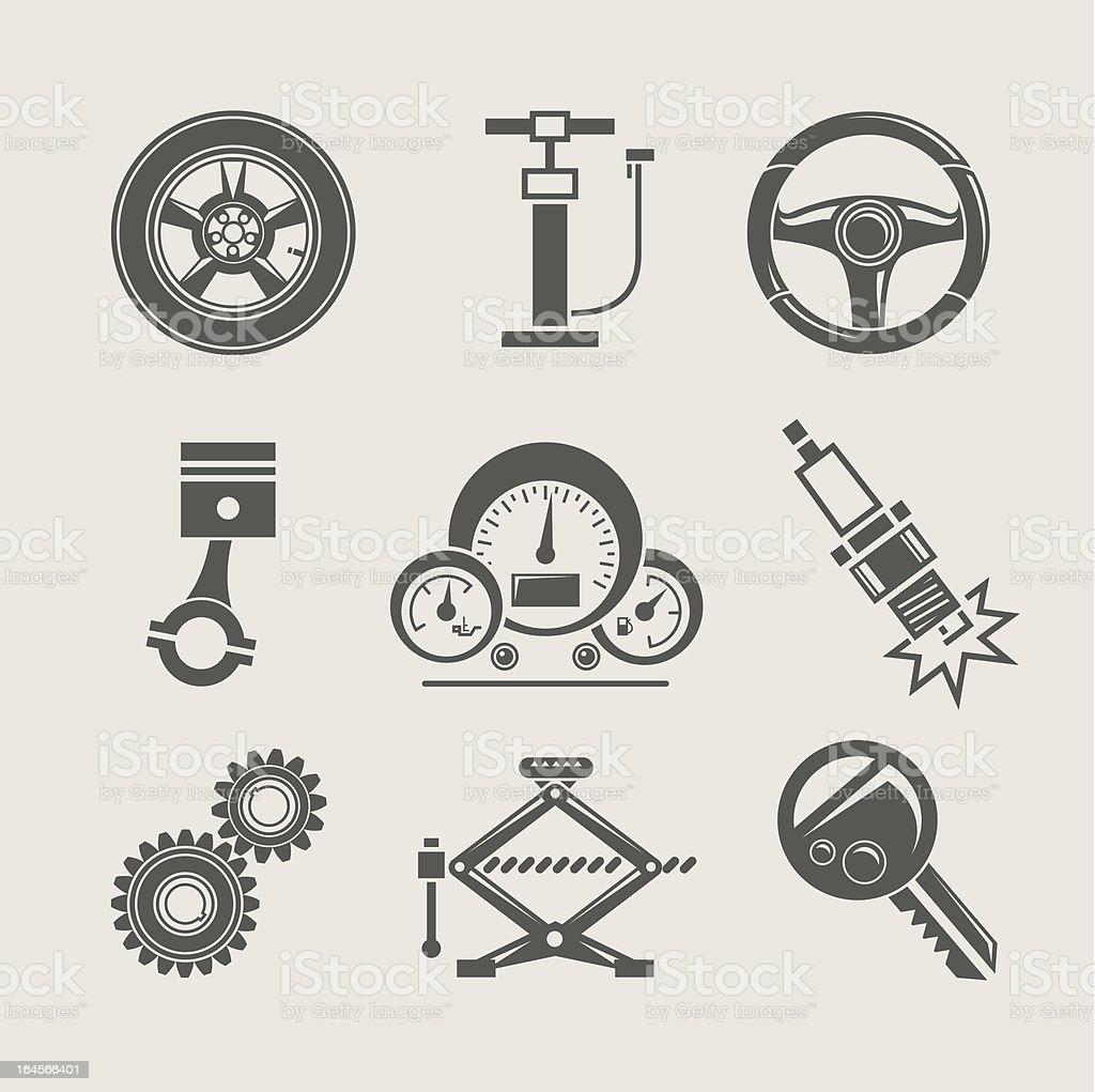 car part set of repair icon vector art illustration
