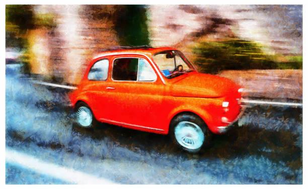 illustrazioni stock, clip art, cartoni animati e icone di tendenza di car positano amalfi coast - digital photo manipulation - amalfi