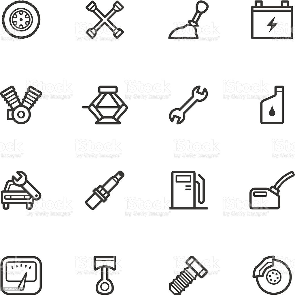 Car Repair Shop Icons vector art illustration