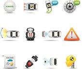 Car Safety Equipment Icon Set | Elegant Series