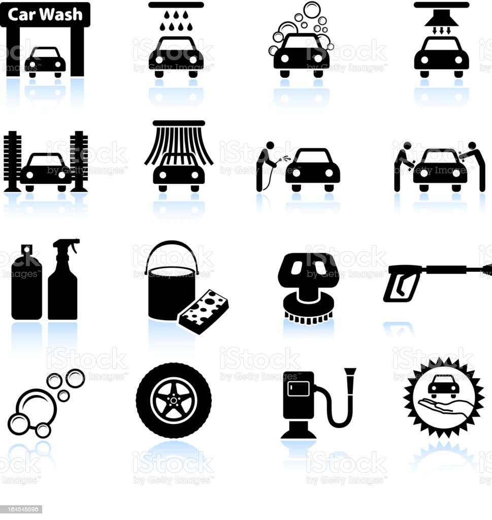 car wash black and white royalty free vector icon set