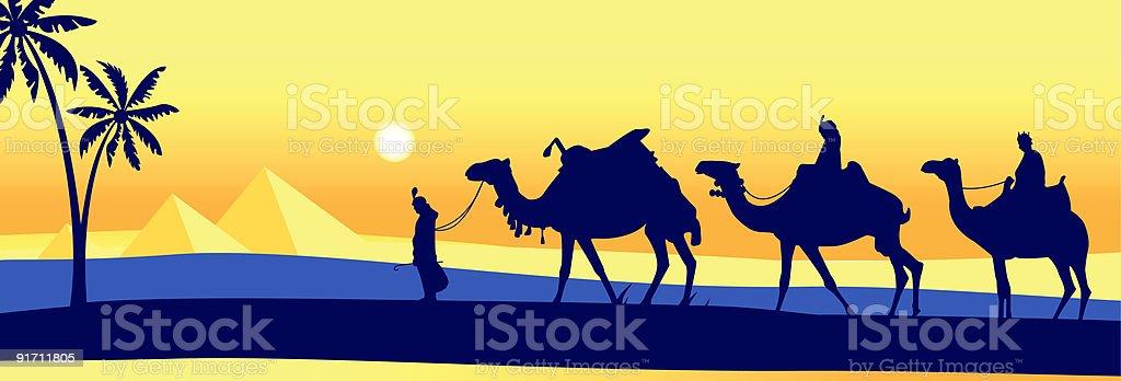 Caravan in the desert royalty-free stock vector art