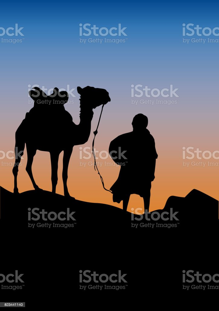caravan in the desert, sunset background.  poster camel and bedouin in the Sahara vector art illustration