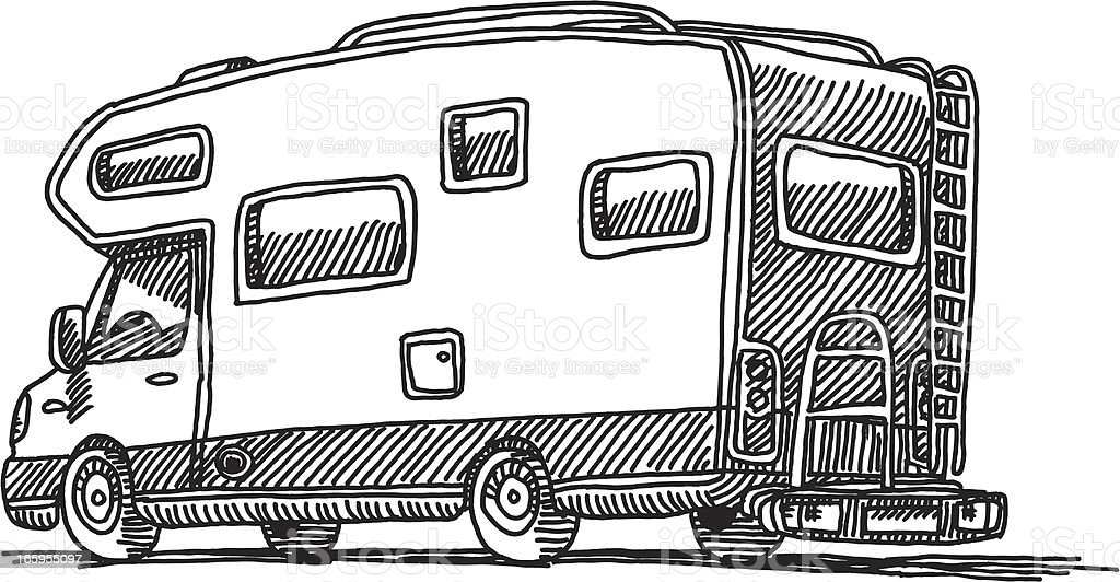 Caravan Mobile Home Drawing royalty-free caravan mobile home drawing stock vector art & more images of black and white